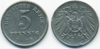 5 Pfennig 1919 D Ersatzmünze 1.WK Eisen sehr schön+ - gereinigt  0,60 EUR  zzgl. 1,20 EUR Versand