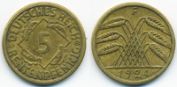 5 Rentenpfennig 1924 F Weimarer Republik Kupfer/Aluminium sehr schön+  1,00 EUR  +  2,00 EUR shipping