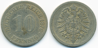 10 Pfennig 1876 E Kaiserreich kleiner Adler - Kupfer/Nickel schön  1,50 EUR  zzgl. 1,20 EUR Versand