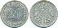 20 Pfennig 1876 E Kaiserreich kleiner Adler - Silber fast sehr schön  9,00 EUR  +  2,00 EUR shipping