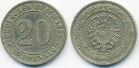 20 Pfennig 1888 A Kaiserreich kleiner Adler - Kupfer/Nickel sehr schön/... 23,00 EUR  +  6,50 EUR shipping