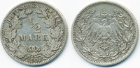 1/2 Mark 1909 G Kaiserreich Silber sehr schön - kleine Kratzer  6,00 EUR  +  2,00 EUR shipping