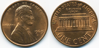 1 Cent 1969 S USA Lincoln Cent Memorial prägefrisch+  0,60 EUR  +  2,00 EUR shipping