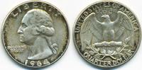 1/4 Dollar 1964 USA Washington Quarter sehr schön+  5,00 EUR  zzgl. 1,20 EUR Versand