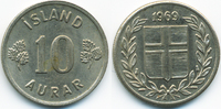10 Aurar 1969 Island - Iceland Republik vorzüglich - minimal fleckig  0,40 EUR  +  2,00 EUR shipping