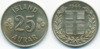 25 Aurar 1966 Island - Iceland Republik vorzüglich+  1,50 EUR  zzgl. 1,20 EUR Versand