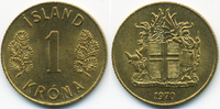 1 Krona 1970 Island - Iceland Republik prägefrisch  0,50 EUR  +  2,00 EUR shipping