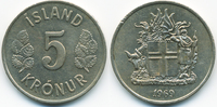 5 Kronur 1969 Island - Iceland Republik vorzüglich  2,50 EUR  +  2,00 EUR shipping