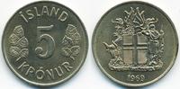 5 Kronur 1969 Island - Iceland Republik prägefrisch  3,00 EUR  +  2,00 EUR shipping