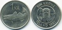 1 Krona 1981 Island - Iceland Republik vorzüglich  0,70 EUR  zzgl. 1,20 EUR Versand