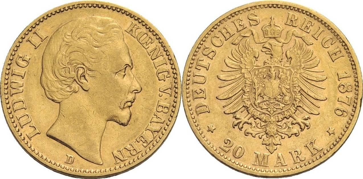 Ludwig Ii , 1864-1886 Bayern 20 Mark, München 1876 Gold