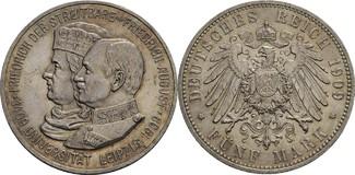 5 Mark, Dresden 1909 Sachsen Friedrich Aug...