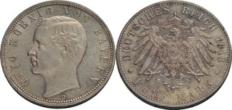 5 Mark 1913 Bayern Otto (1886-1913) vz / v...