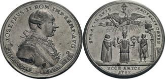 Zinnmedaille mit Kupferstift 1782 Habsburg...