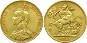 2 Pounds Gold 1887 Großbritannien Victoria...