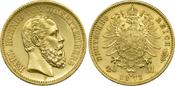 20 Mark 1873 F Kaiserreich Württemberg Kön...