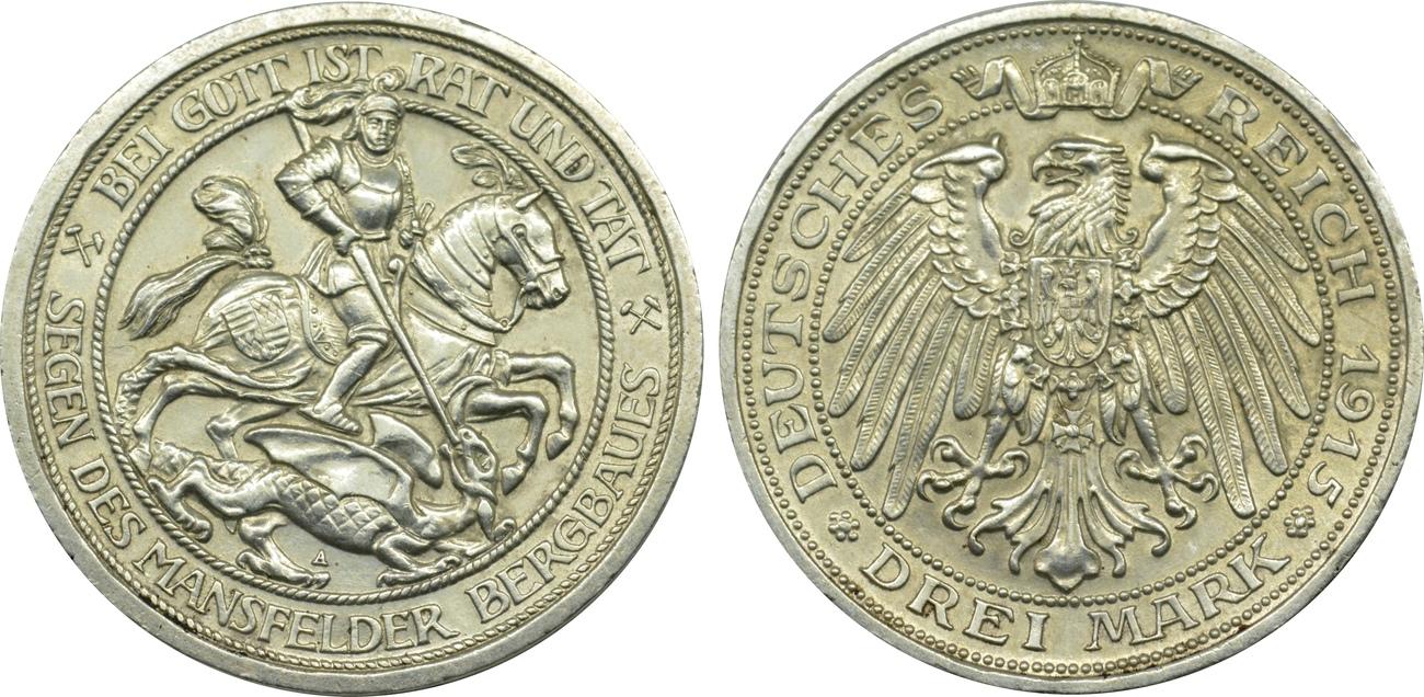 3 Mark 1915 A Deutschland Preussen Mansfeld vz-st