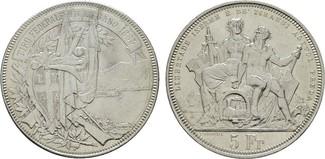 5 Franken 1883. SCHWEIZ Stadt. Vorzüglich-...
