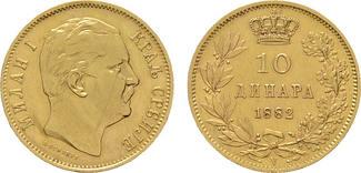 10 Dinara 1882, Wien. SERBIEN Milan IV. Ob...
