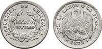 1/2 Decimo 1879. CHILE  Stempelglanz  25,00 EUR  +  7,00 EUR shipping