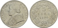 5 Lire 1870 R. ITALIEN Pius IX., 1846-1878. Fast Stempelglanz.  441.56 US$  +  7.83 US$ shipping