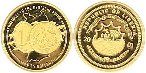 Republik Liberia 25 Dollars Deutsche Mark 0 7 Gramm Gold fein 2001