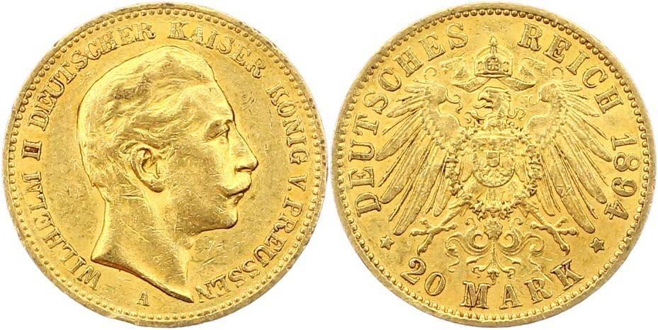 Wilhelm Ii 1888-1918 Preußen 20 Mark Gold 1894 A
