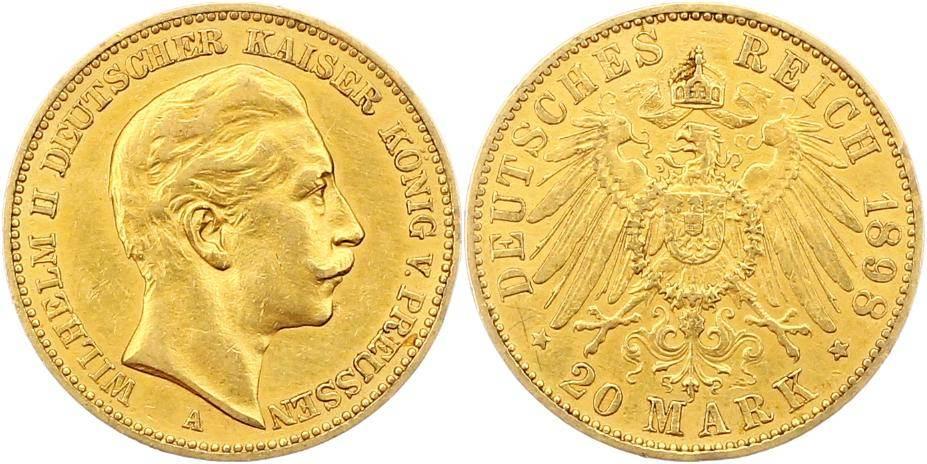 Wilhelm Ii 1888-1918 Preußen 20 Mark Gold 1898 A