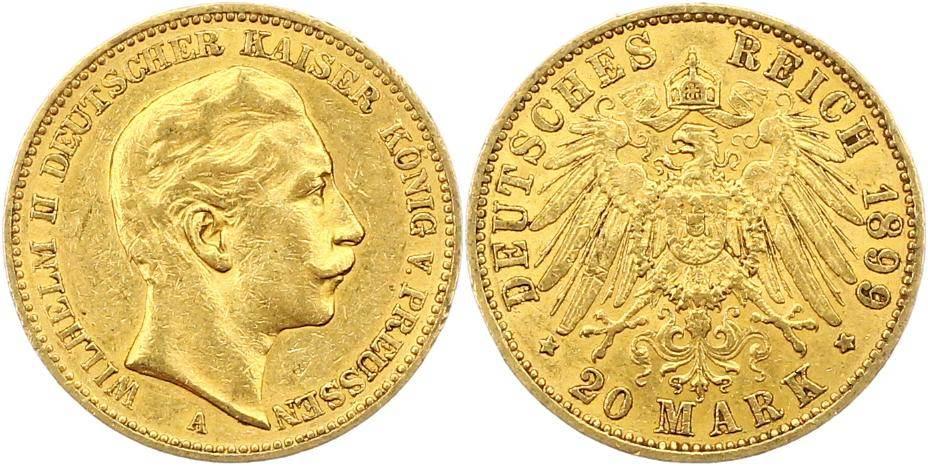 Wilhelm Ii 1888-1918 Preußen 20 Mark Gold 1899 A