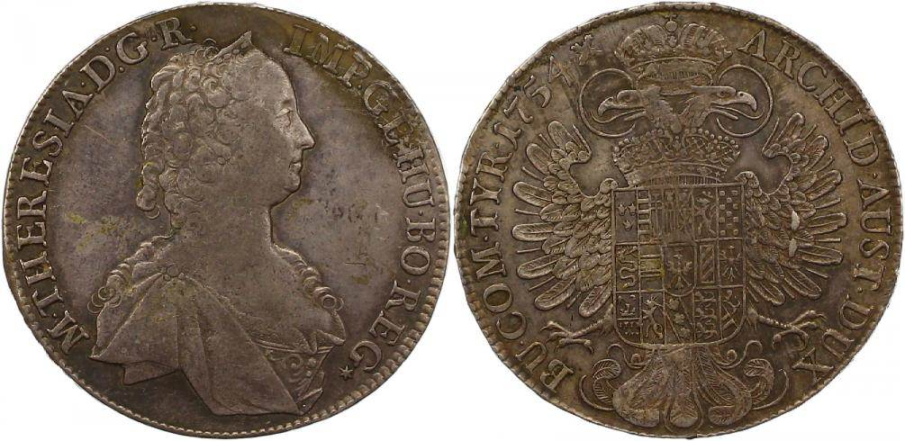 Maria Theresia 1740-1780 Haus Habsburg Taler 1754