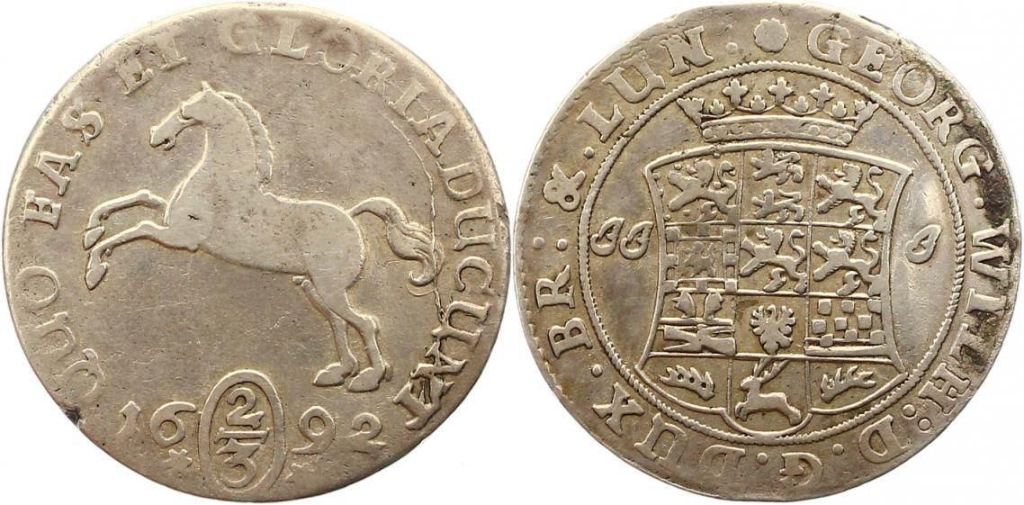Georg Wilhelm 1665-1705 Braunschweig-lüneburg-celle 2/3 Taler 1692