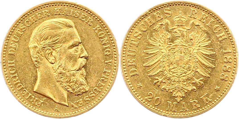 Friedrich Iii 1888 Preußen 20 Mark Gold 1888 A