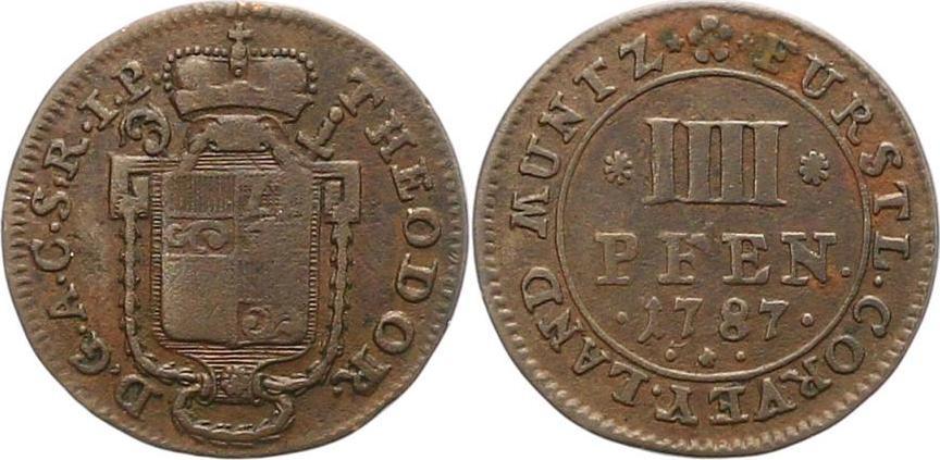 Theodor von Brabeck 1776-1794 Corvey Vier Pfennig 1787