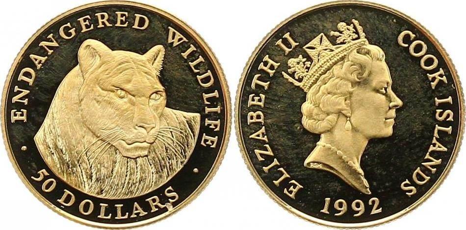 Elizabeth Ii Seit 1952 Cook-inseln 50 Dollar Gold 1992
