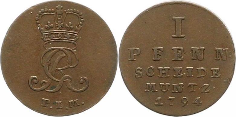 Georg Iii 1760-1820 Braunschweig-calenberg-hannover Pfennig 1794