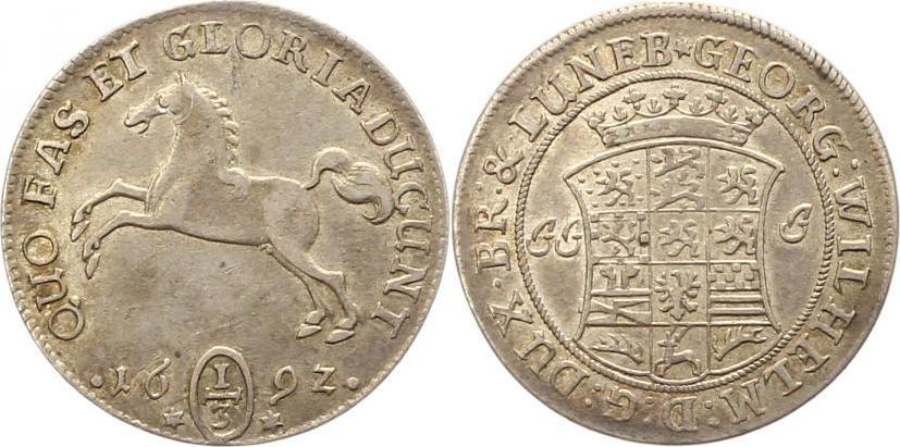 Georg Wilhelm 1665-1705 Braunschweig-lüneburg-celle 1/3 Taler 1692