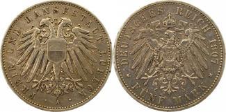 5 Mark 1907  A Lübeck  Winz. Randfehler, s...