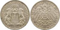 3 Mark 1910  J Hamburg  Zapponiert, sehr schön  22.43 US$ 20,00 EUR