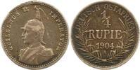 1/4 Rupie 1904  A Deutsch Ostafrika  Henkelspur, fast sehr schön  22.43 US$ 20,00 EUR