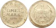 Verprägung. 3 Mark 1 1924  A Weimarer Republik  Dezentriert. Vorzüglich  345,00 EUR