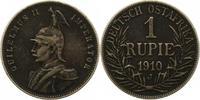 Rupie 1910  J Deutsch Ostafrika  Dunkle Patina. Sehr schön  50,00 EUR  + 4,00 EUR frais d'envoi