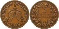 5 Heller 1908  J Deutsch Ostafrika  Fast sehr schön  50.45 US$ 45,00 EUR  +  4.48 US$ shipping
