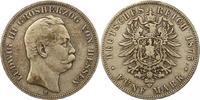 5 Mark 1875  H Hessen Ludwig III. 1848-1877. Schön - sehr schön  85,00 EUR  + 4,00 EUR frais d'envoi
