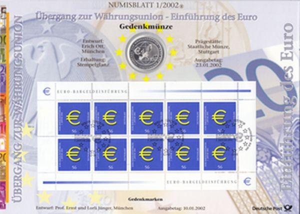 Numisblatt 1/2002 Einführung des Euro Brd 10 Euro