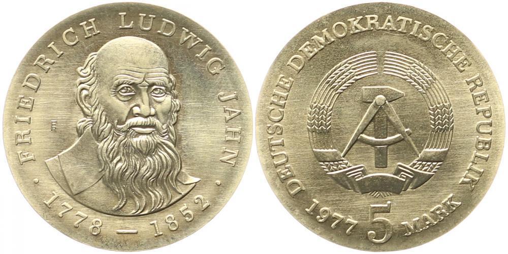 Ddr: 5 Mark 1977, 125 Todestag von Friedrich Ludwig Jahn Deutsche Dem