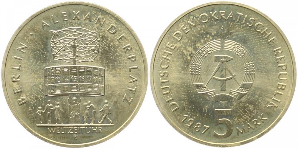 Ddr: 5 Mark 1987, Weltzeituhr auf dem Alexanderplatz in Berlin Deutsc