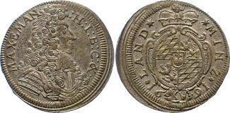 15 Kreuzer (1/4 Gulden) 1691 Bayern, Kurfü...