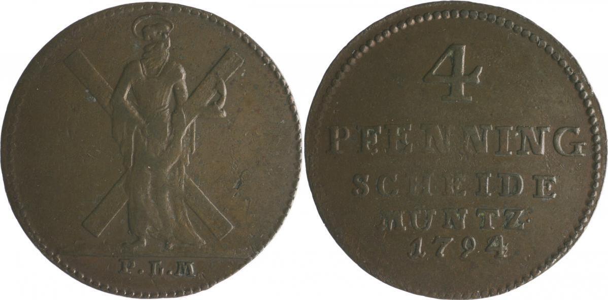 Georg Iii 1760-1820 Braunschweig und Lüneburg Hannover 4 Pfennig 1794