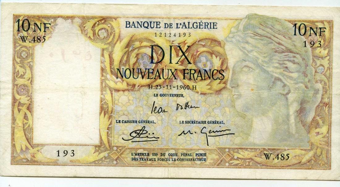 Algerien, 10 Neue Francs, 1960,