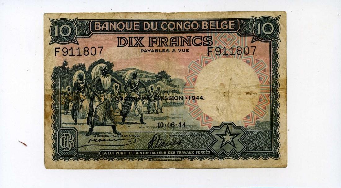 Belgisch Kongo, 10 Francs, 1944,
